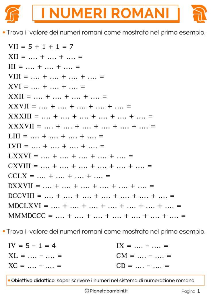 Esercizi sui Numeri Romani per la Scuola Primaria | Numeri ...