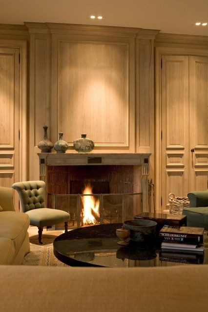 115 best images about paneled rooms on pinterest french for Small den with fireplace