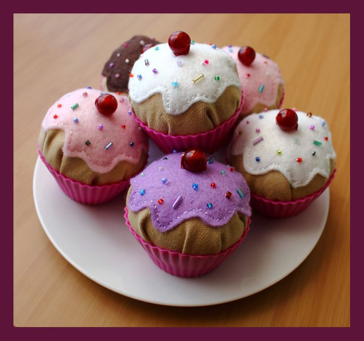"""Cupcake Pin-Cushions Pattern and Tutorial...these are so cute, love the """"cherry"""" on top!"""