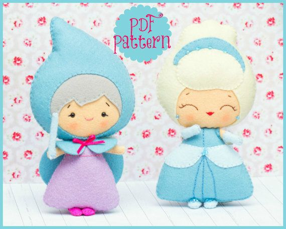 PDF. Cinderella and the fairy godmother. Fairy tale pattern. Plush Doll Pattern, Softie Pattern, Soft felt Toy Pattern.