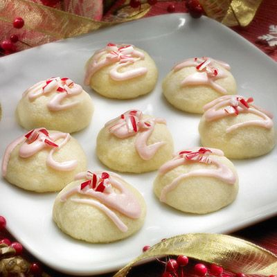 This is my favorite Christmas Cookie recipe!  I give the top of the cookie more of a frosted look than the picture, sprinkle with the crushed peppermint candies, and the drizzle melted chocolate chips out of a Ziploc bag with tiny corner cut, in a zigzag!  The best!!