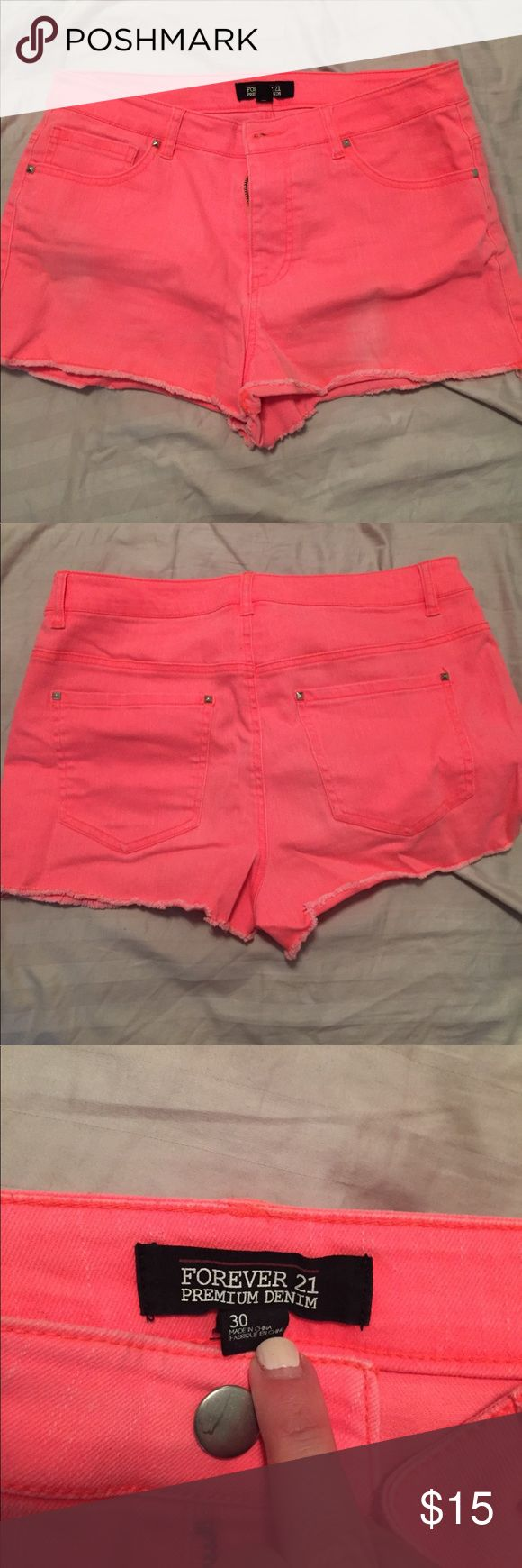 Forever 21 distressed coral Jean shorts Forever 21 distressed Coral Jean shorts size 30 Forever 21 Shorts Jean Shorts