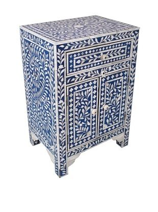-58,800% OFF Mili Designs 1 Drawer 2 Doors Mother of Pearl Inlay Bedside, Blue/Cream