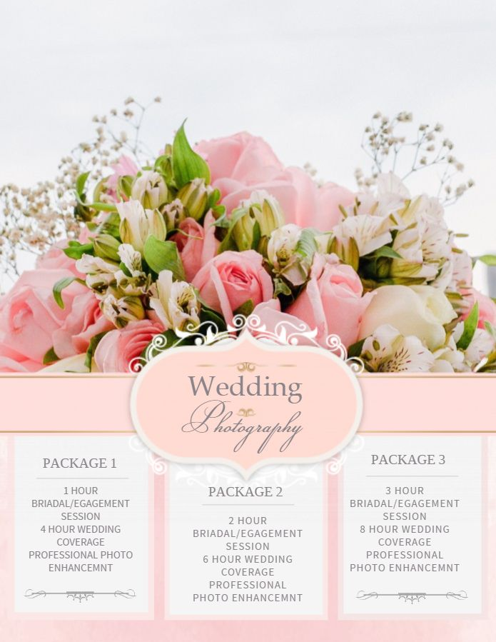 Wedding Photography Service Ad Flyer Design Template Pink Wedding Photography Packages Wedding Flyers Wedding Brochure
