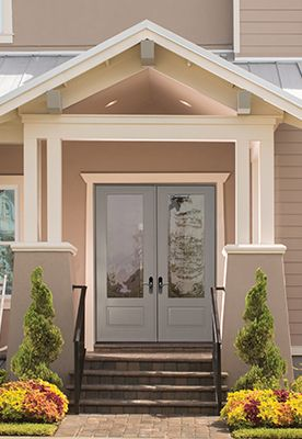 """Get the timeless look of the 3/4-lite 1-panel door style with the beauty and performance of flush-glazed glass in a smooth, paintable surface. Now in 8'0"""" height to complete the statement on a grand entrance with high ceilings.