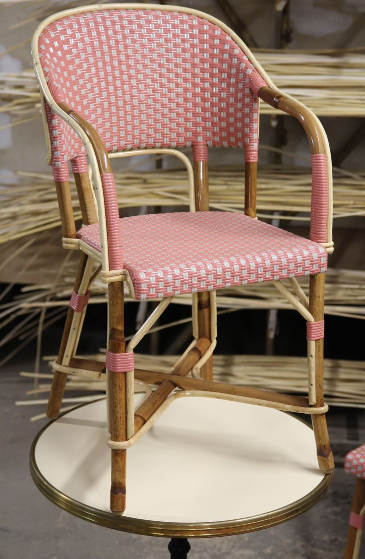 Monstsouris armchair rose and grey C20 weaving.