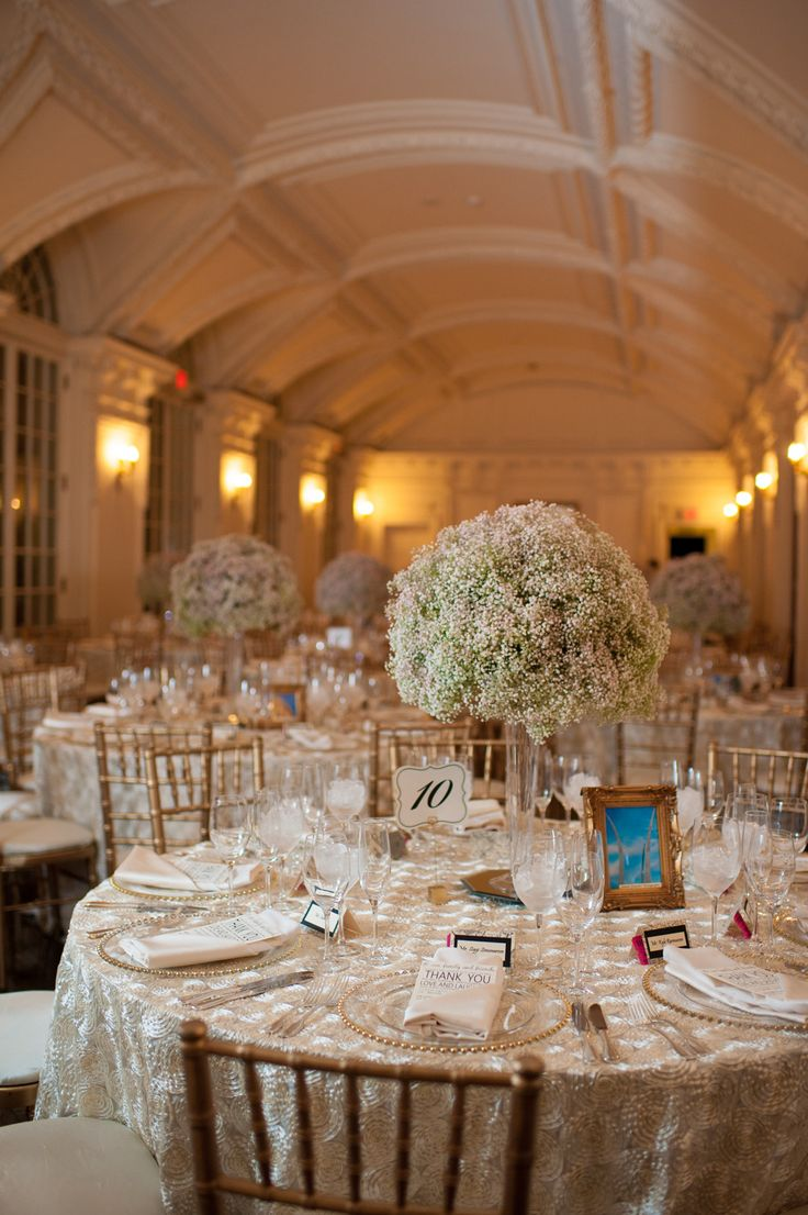 Baby's Breath Centerpiece + Exquisite Linens - kind of takes your breath away... See the wedding on SMP ~ http://www.StyleMePretty.com/little-black-book-blog/2014/01/10/dar-headquarters-pink-gold-wedding/ Rebekah Hoyt Photography