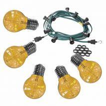 Feestverlichting 10 meter inclusief 10 rode heldere LED lampen filament van 2 Watt per stuk