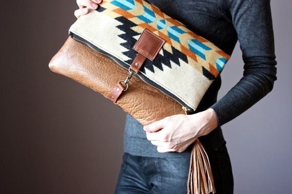 Nov 8 - combination of materials inspiration for clutch. RESERVED Wool and leather bag Large Leather by VitalTemptation