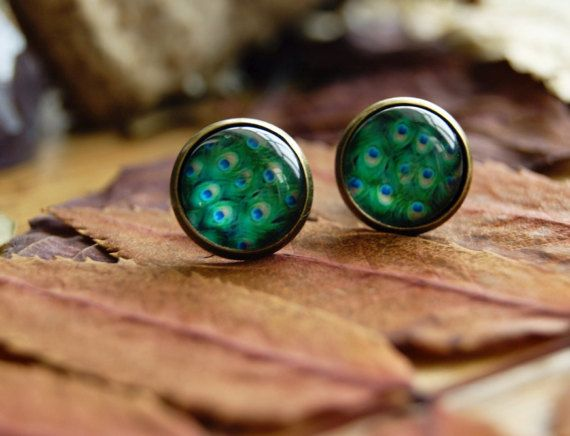 Peacock feather stud earrings Glass earrings by InviolaJewerly
