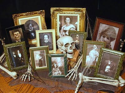 "Make Your Own Freaky Family Portraits For Halloween    ~Making your own freaky family photo arrangement is super simple using PSE (Photoshop) or FotoMix. You don't need any previous experience manipulating photos to create these fun portraits. ~To find suitable graphic photos, google: ""Victorian portrait photography"" ""skull"", ""ghoul"", ""ghost"", etc. Tutorial is on their page."