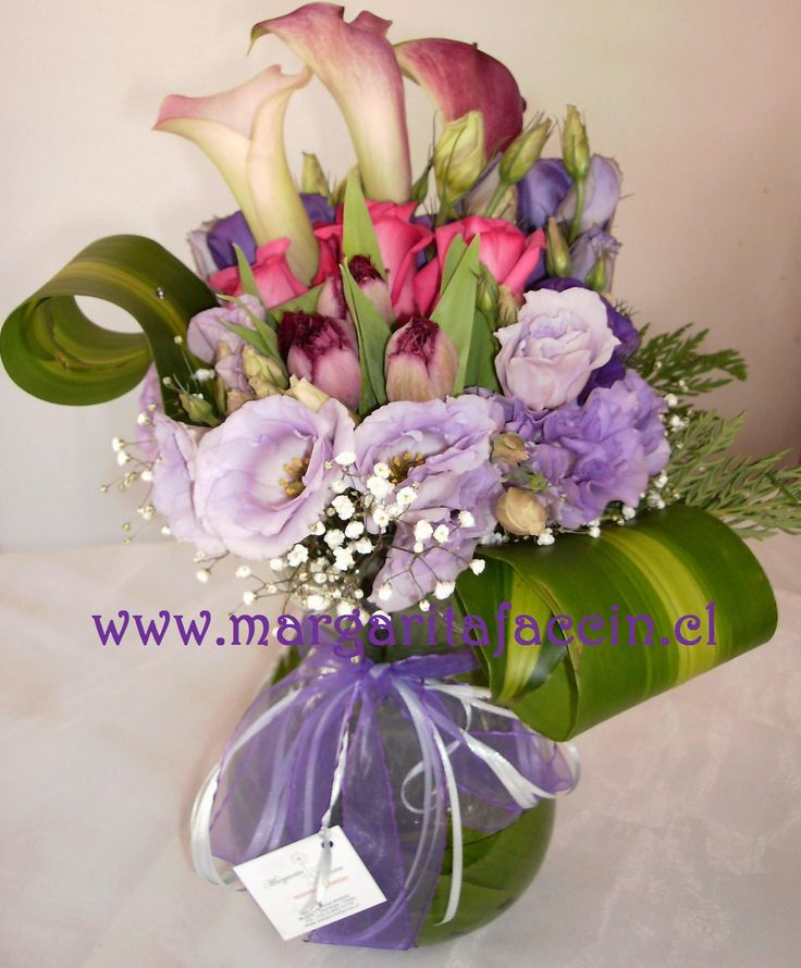 lisianthus lila, tulipanes, calas color y rosas