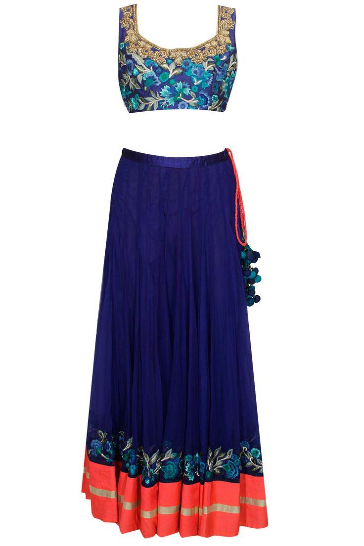 Blue floral resham embroidered lehenga set by Aharin India. Shop now: http://www.perniaspopupshop.com/designers/aharin-india #lehenga #aharin #shopnow #perniaspopupshop