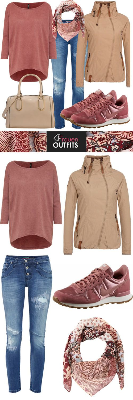 #outfit, #frauen, #look, #herbst, #freizeit, #naketano, #nike, #rosa, #rosenholz, #beige, #mode, #fashion