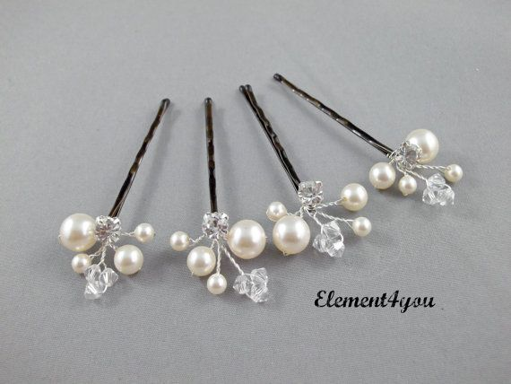 Ivory Pearl Clip, Bridal Hair Pins, Wedding Hair Accessories, Swarovski Pearl Wedding Hair Pins, Set of 4, Floral Vine, White hair clips.