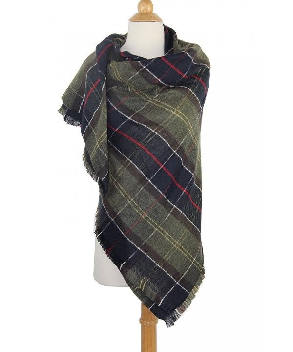 Tartan Parcel Plaid Shawl Womens Long Plaid Scarf Blanket Thick Oversized Soft Cashmere Feel Warm Scarf
