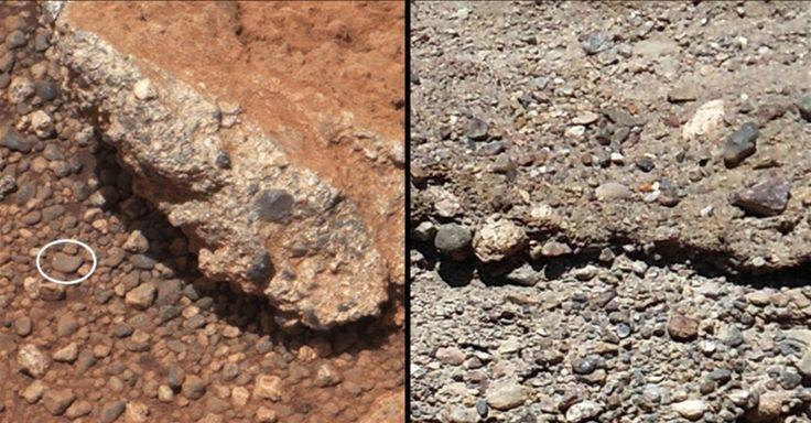 O Curiosity encontrou novos indícios de que Marte já abrigou água em sua superfície antes de se tornar um planeta árido. O robô fotografou durante os primeiros 40 dias da missão mais de 500 pedras do planeta vermelho (à esquerda) que são similares aos seixos encontrados nos leitos de rios da Terra (à direita). Segundo a Nasa (Agência Espacial Norte-Americana), a superfície redonda e lisa dos pedregulhos foi formada como se tivesse viajado longas distâncias pelo leito de um antigo rio