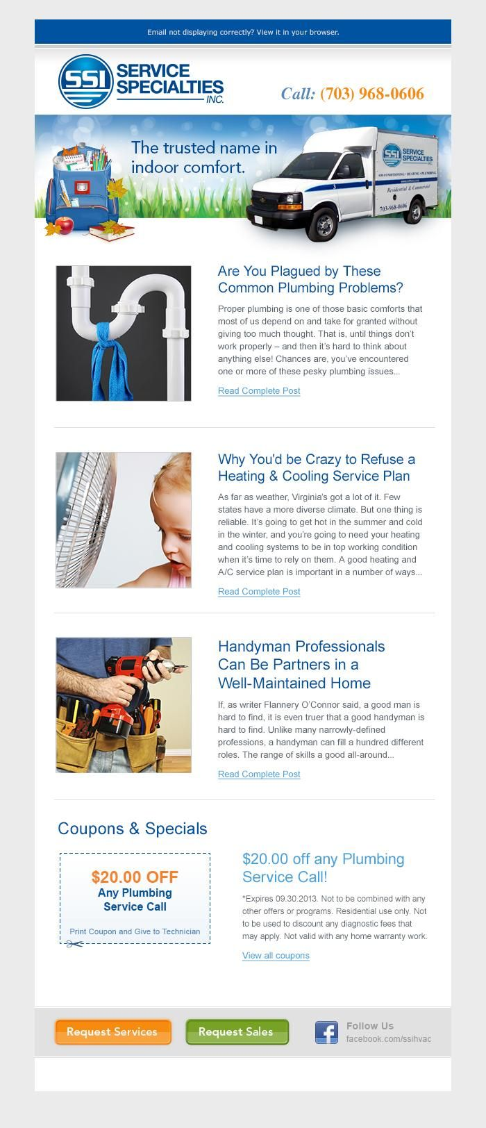 Email newsletter created for use by a local HVAC and plumbing contractor.