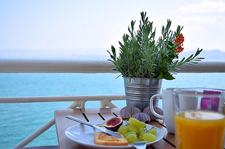 The view from Meli holiday waterfront apartments during the brekfast in Kiveri village close to Nafplion Greece