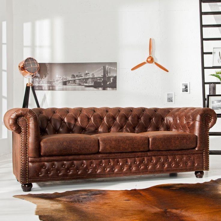 Bank 3-zits Chesterfield Vintage Bruin Echt Leer - 37202