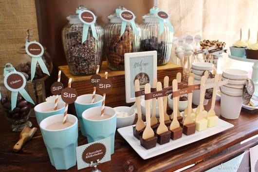 Little Big Company   The Blog: Hot Cocoa Bar Party a Delicious Chocolate and pale blue themed party by Sweet Scarlet Designs