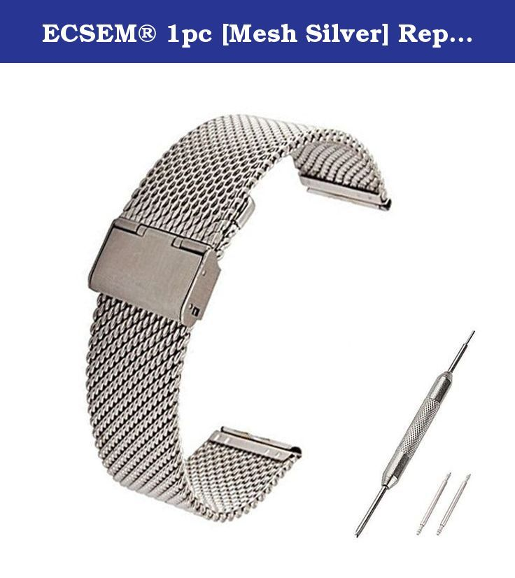 ECSEM® 1pc [Mesh Silver] Replacement Stainless Steel Watch Band For Pebble Time Steel (not Pebble Steel) Only - No Fitness Tracker or Other Parts. ECSEM® 1pc [Mesh Silver] Replacement Stainless Steel Watch Band For Pebble Time Steel (not Pebble Steel) Only - No Fitness Tracker or Other Parts.