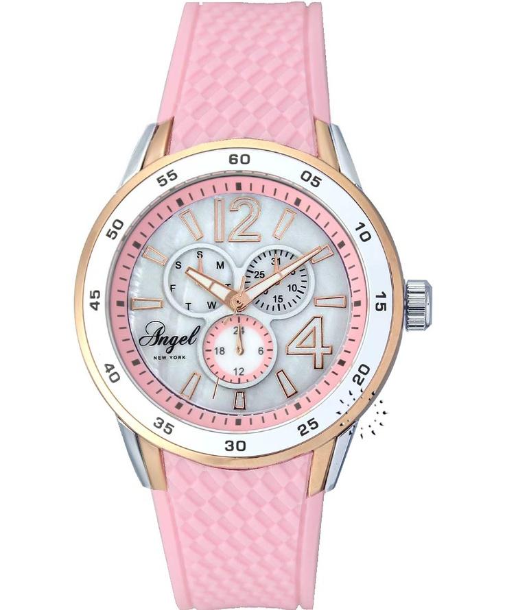 ANGEL New York Pink Rubber Strap  59€  Αγοράστε το εδώ: http://www.oroloi.gr/product_info.php?products_id=31027