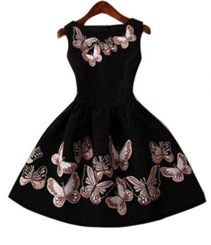 Vintage Round Collar Sleeveless Butterflies Print Women's Ball Gown Dress