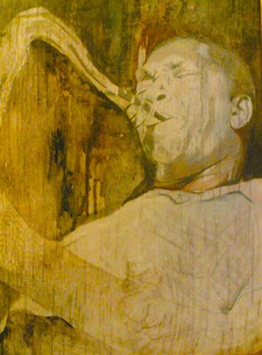 """John Coltrane"" $749 Watercolor on board PAINTING"