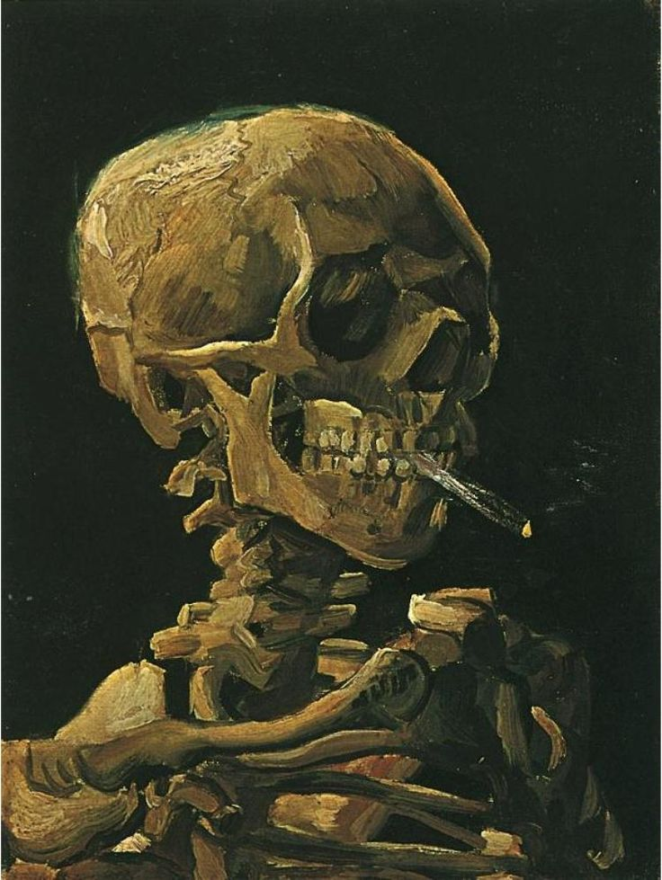 "Vincent van Gogh  Painting, Oil on Canvas  Antwerp: Winter, 1885 - 86  Van Gogh Museum  Amsterdam.   ""Skull with Burning Cigarette"""
