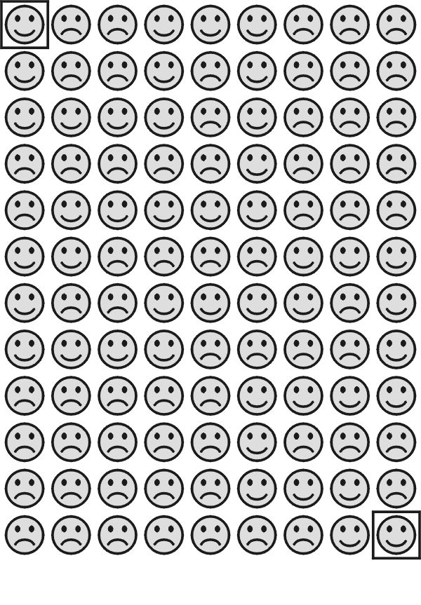 Smiley face maze with both visual perceptual and visual motor components