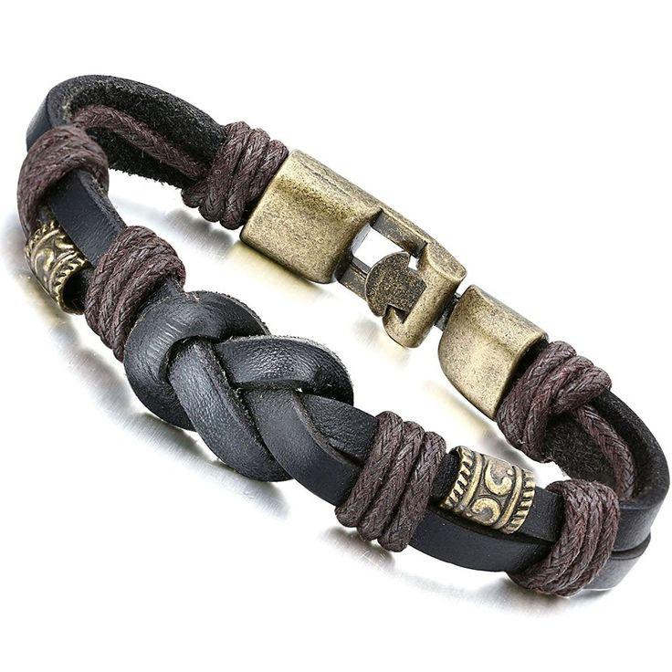 Jstyle Lederarmband Handgemachte Herrenarmband 22cm Armreif Goldfarbene Schwarz Braun Armband rosegold Damen Junge: Amazon.de: Schmuck