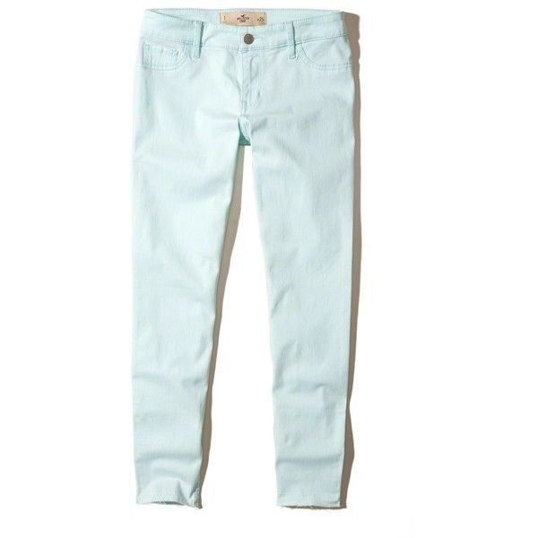 Hollister Low-Rise Crop Super Skinny Pants (140 BRL) ❤ liked on Polyvore featuring pants, capris, mint, 5 pocket twill pants, twill pants, mint green pants, blue skinny pants and skinny leg pants