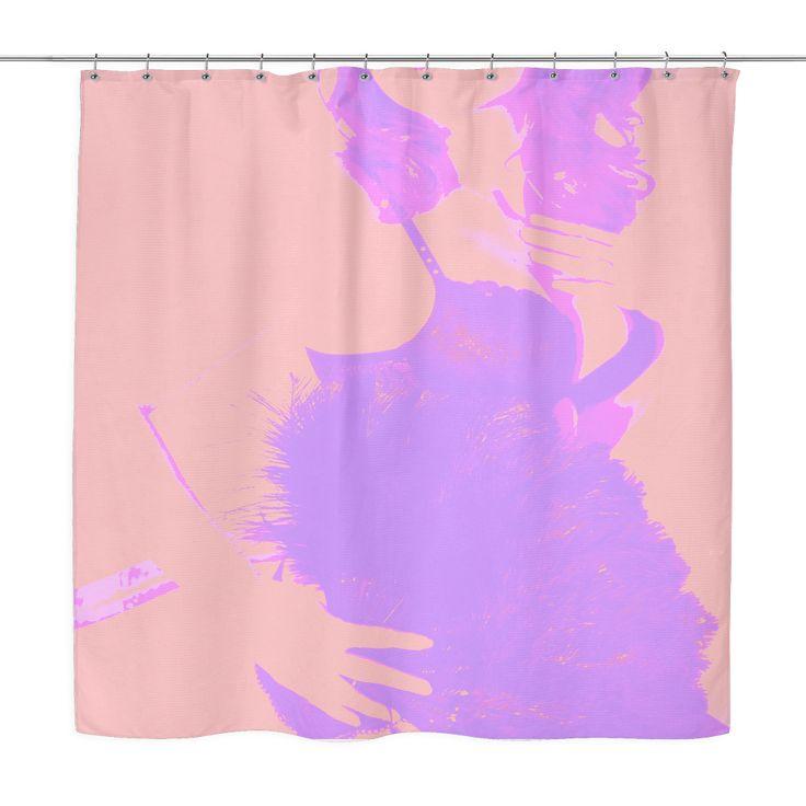 Designed shower curtain, modern woman