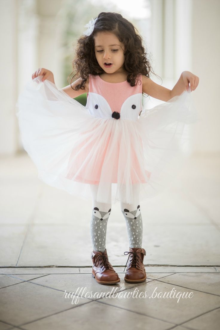 This tutu dress is like no other! Add this fall dress for girls in your baby's closet and you will be extremely happy with the decision. It's a sleeveless dress with a fox tutu attached to it! You wou
