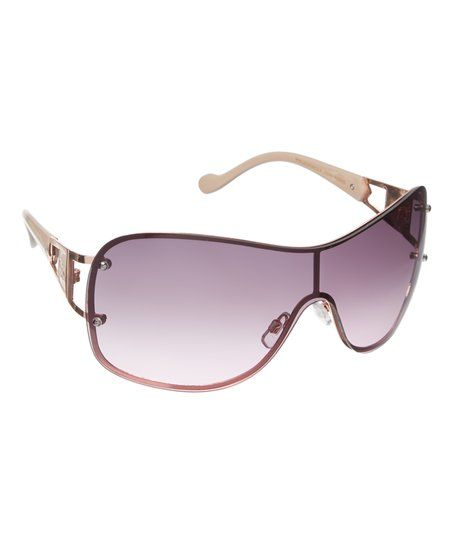Jessica Simpson Collection Rose Gold & Nude Shield Sunglasses | zulily