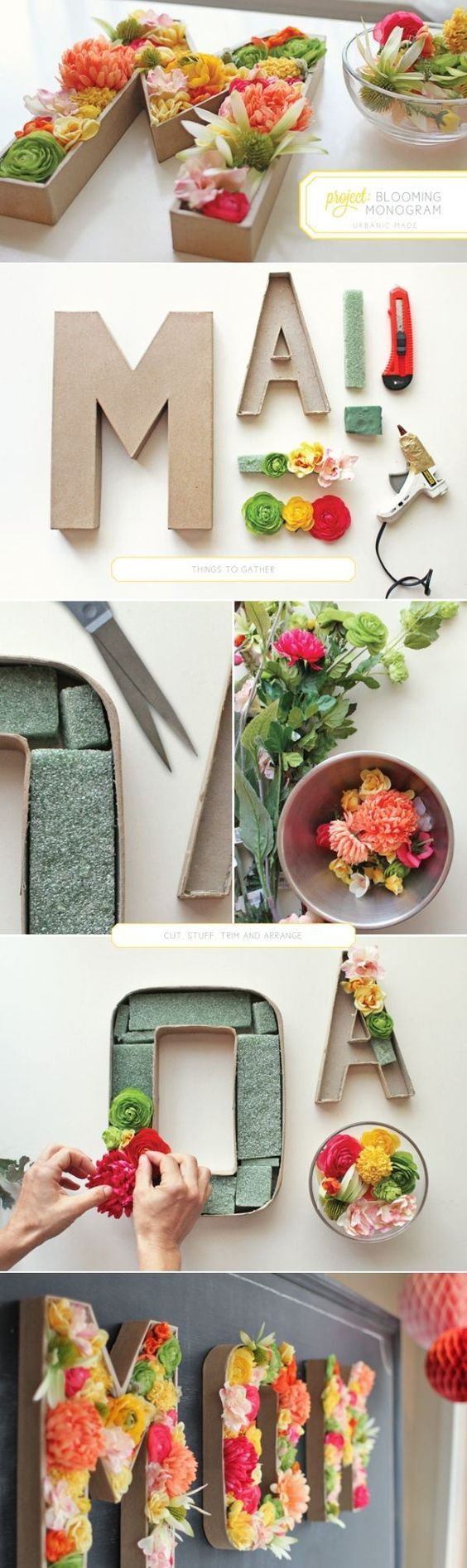 What You Need : paper mache letters (there are 8″ and 12″) exacto knife floral foam glue gun wire cutters or strong scissors silk flowers How To Make : 1] Using an exacto knife, cut off the front of the letters and hollow out carefully. 2] Cut floral foam into shapes that fit letter and […]