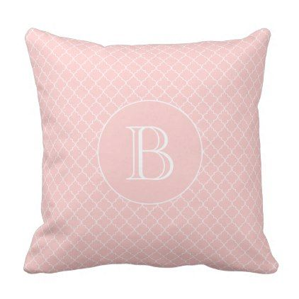 Blush Pink Quatrefoil Pattern Custom Monogram Throw Pillow - modern gifts cyo gift ideas personalize