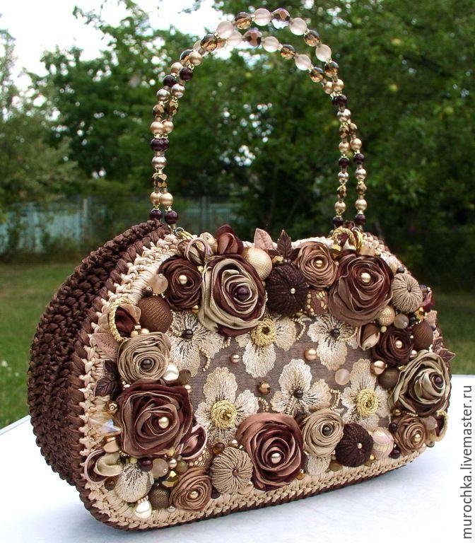 """Купить Сумочка """"Свеча горела""""(вариация) - коричневый, цветочный, бежевый, золотисты, сумочка из атласных лент"""