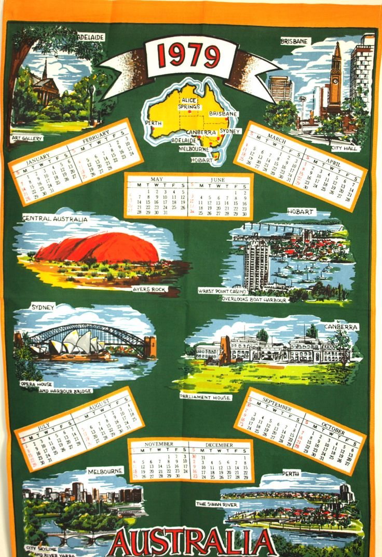 Ogilvies designs christmas aprons gloves amp tea towels - Retro 1979 Australia Calendar Kitsch Tea Towel Souvenir Sydney Australiana Birthday Tea Towel New Old Stock