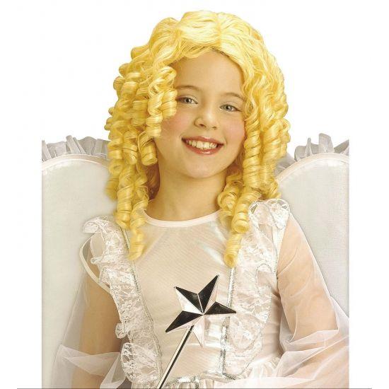 Kinderpruik blond krullen. Blonde kinderpruik met pijpenkrullen. Leuke meisjes kinderpruik met krulletjes voor bijvoorbeeld een prinses of engel.