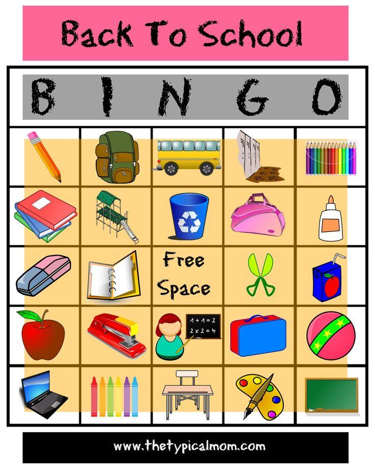 Back to School Bingo Printable activities for kids