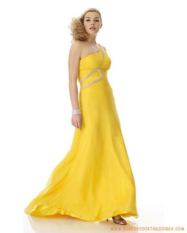 Belle robe de soirée Jaune avec cristal mousseline