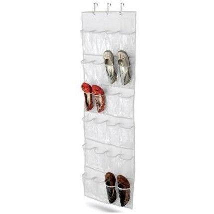 Clear White Shoe Organizer Shoe Rack - Hangs Over Door
