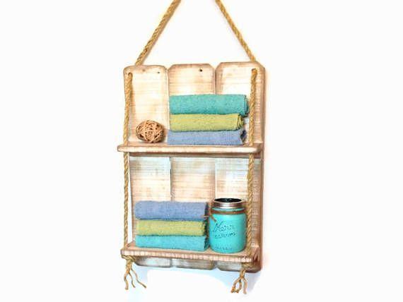 Double Rustic Wooden Pallet Shelves Handcrafted Wood Beach, farmhouse decor, bathroom shelf, spice rack, gift idea, space saver, rustic towel shelf #affiliatelink