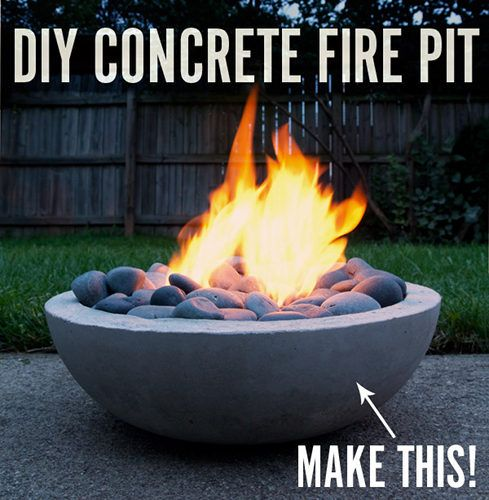 DIY Concrete fire pit. With a bag of cement, a few other tools and a few hours... you can have this DIY Homemade Concrete Fire Pit!