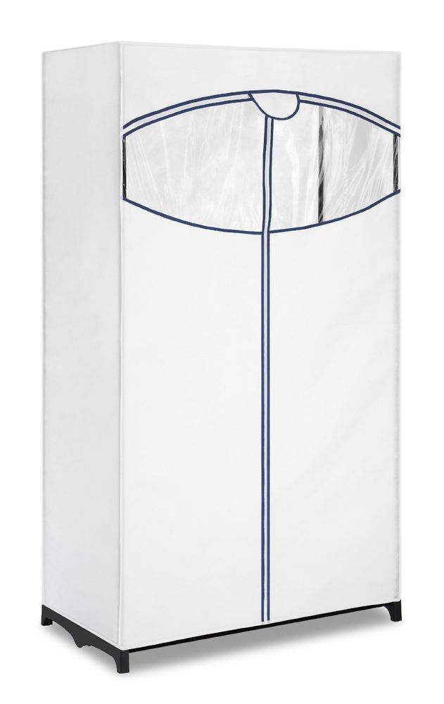 Portable Clothes Rack Closet Organizer Storage Hanger Garment Wardrobe White New #PortableClothesRack
