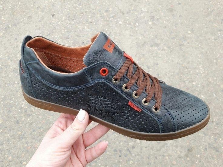Легкие мужские туфли с перфорацией шноровка синие
