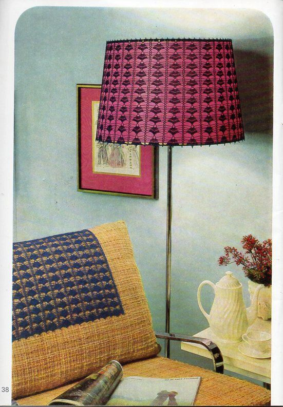Vintage 70s crochet lampshade cover and chairback Crochet Pattern PDF thread crochet cotton Instant Download by coutureknitcrochet on Etsy