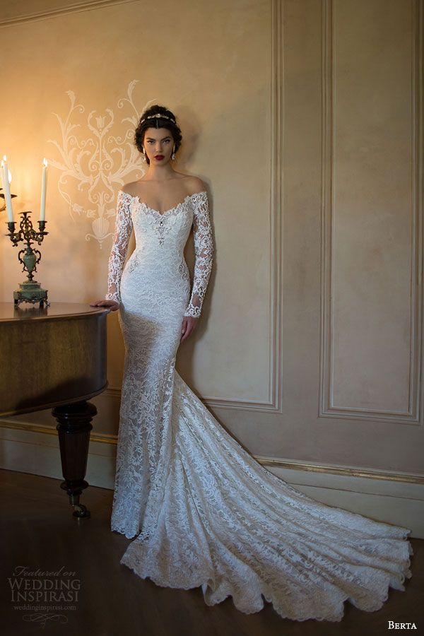 berta 2015 off shoulder illusion long sleeve trumpet sheath lace #wedding dress #weddings #weddingdress #bridal #sposa